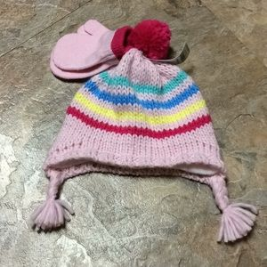 Carter's fleece lined striped baby hat & mittens